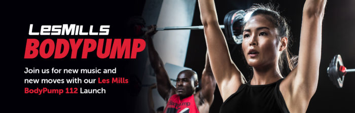 Body Pump Les Mills banner with text