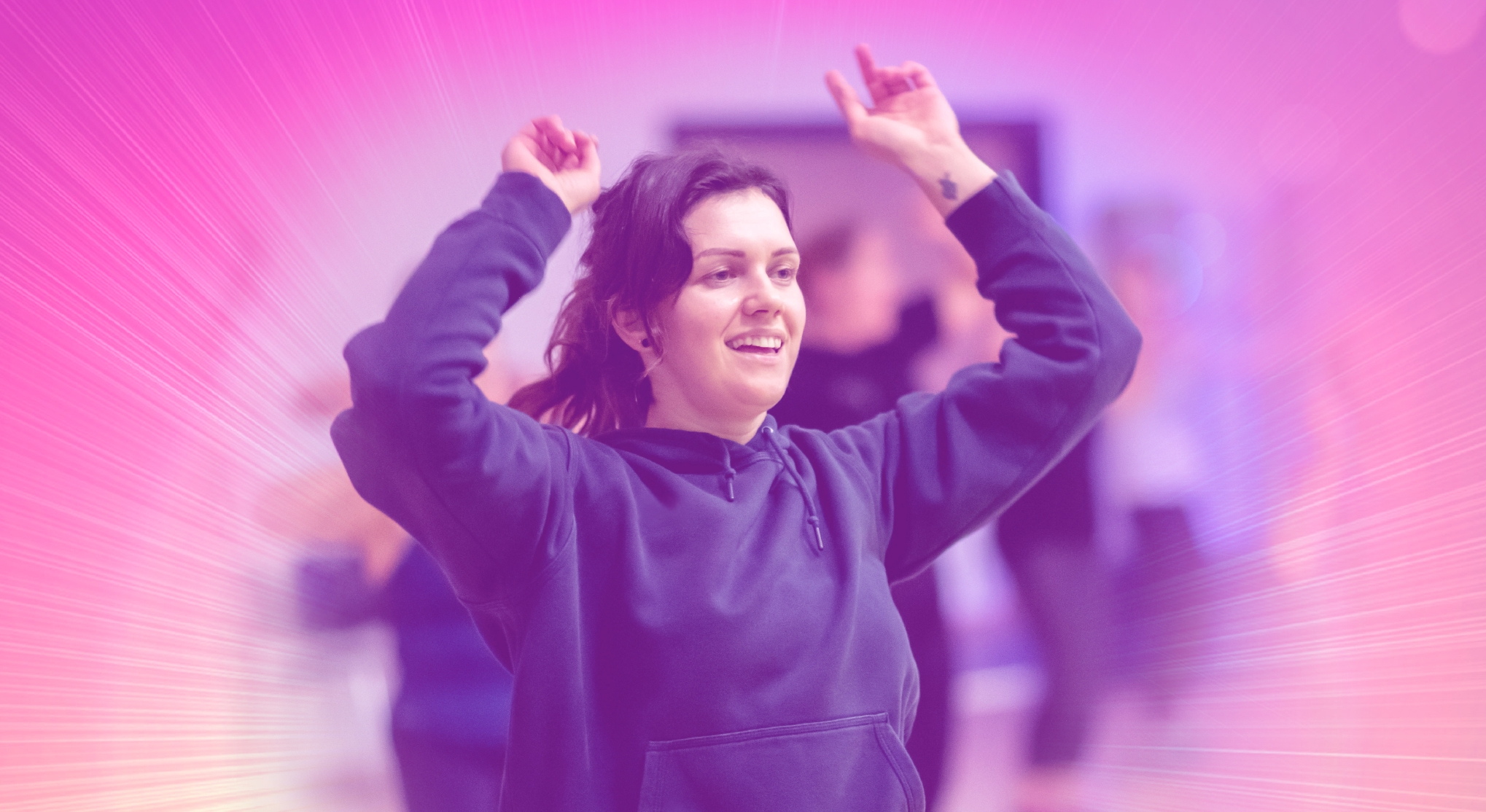 lady dancing in the gym with disco background
