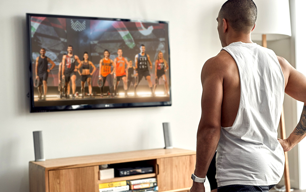 LesMills On Demand Man working out at home